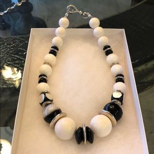 Sterling, onyx and ceramic necklace